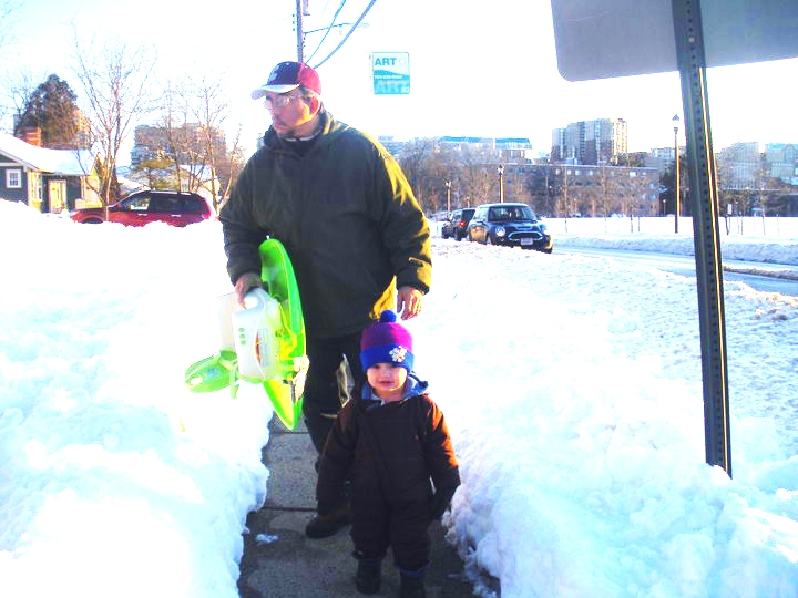 Taking my boy and his MacGyver'd sled out to play!